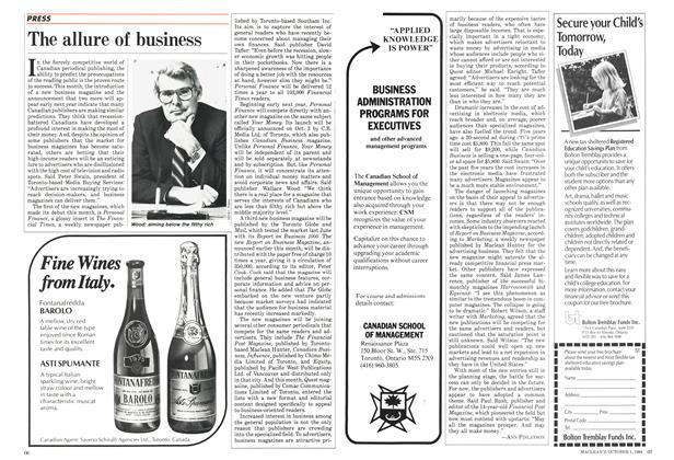 Article Preview: The allure of business, October 1984 | Maclean's