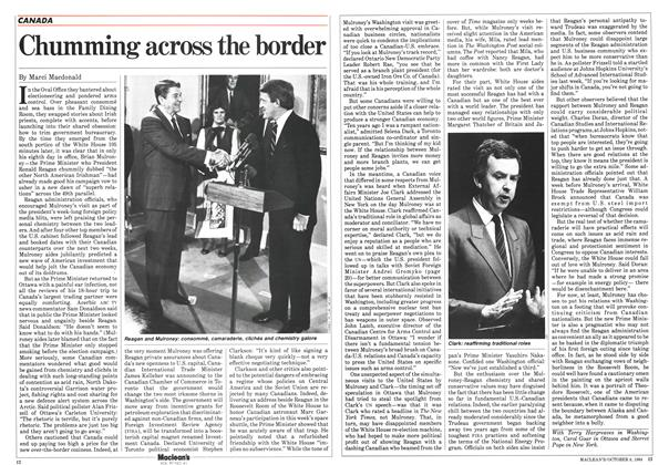 Article Preview: Chumming across the border, October 1984   Maclean's
