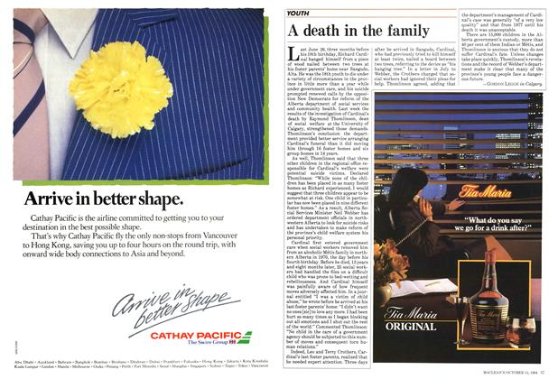Article Preview: A death in the family, October 1984 | Maclean's