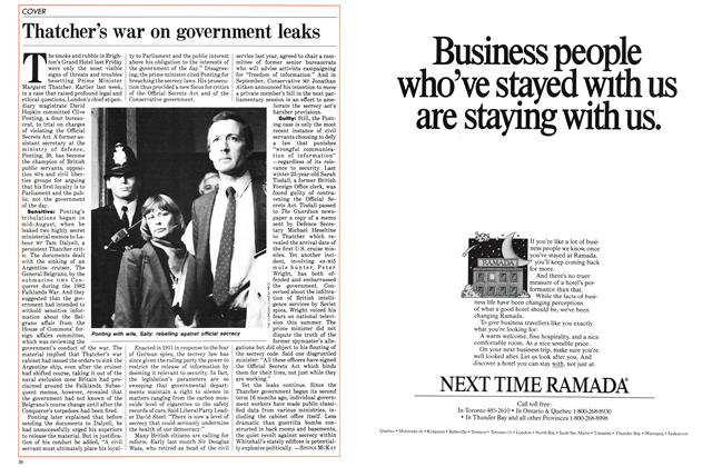 Article Preview: Thatcher's war on government leaks, October 1984 | Maclean's