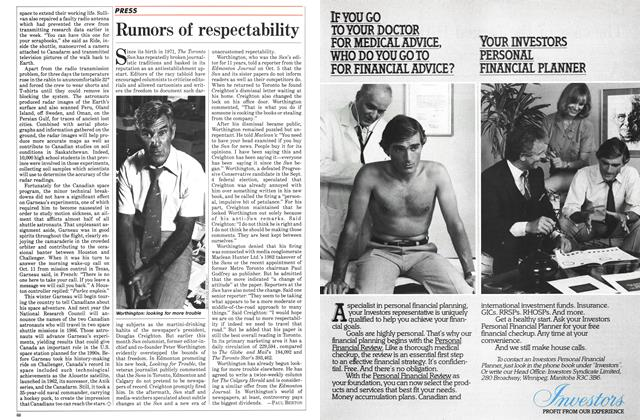 Article Preview: Rumors of respectability, October 1984 | Maclean's