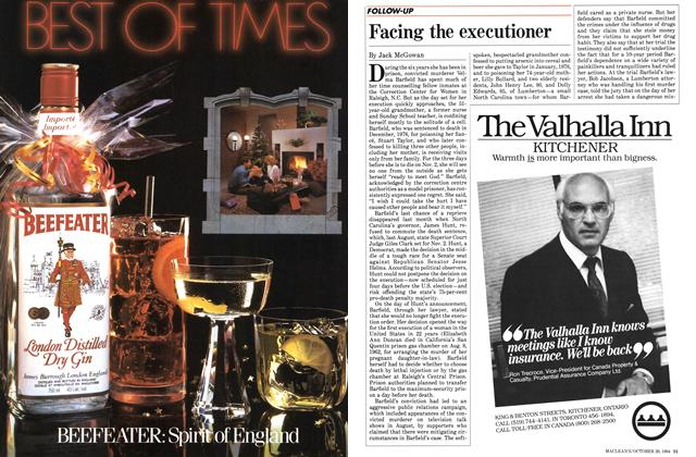 Article Preview: Facing the executioner, October 1984 | Maclean's