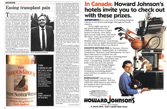 Article Preview: Easing transplant pain, October 1984 | Maclean's
