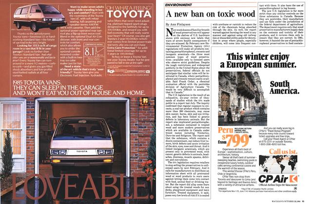 Article Preview: A new ban on toxic wood, October 1984 | Maclean's