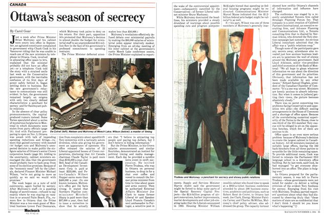 Article Preview: Ottawa's season of secrecy, November 1984 | Maclean's