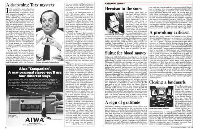 Article Preview: A deepening Tory mystery, November 1984   Maclean's