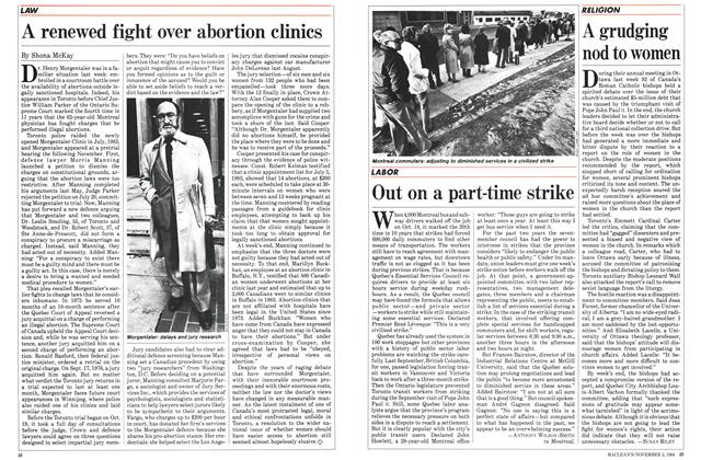Article Preview: Out on a part-time strike, November 1984 | Maclean's