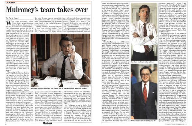 Article Preview: Mulroney's team takes over, November 1984 | Maclean's