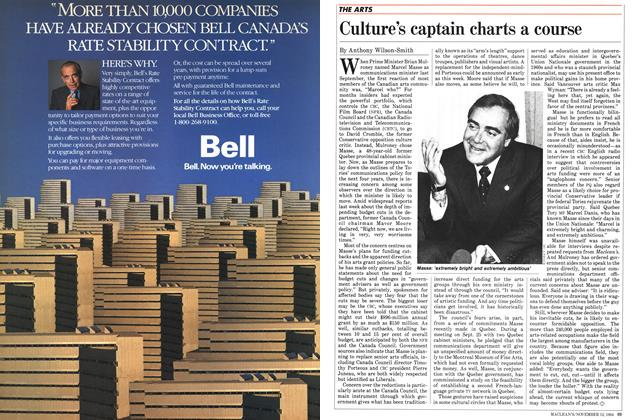 Article Preview: Culture's captain charts a course, November 1984 | Maclean's
