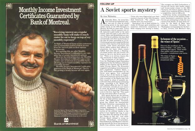 Article Preview: A Soviet sports mystery, November 1984 | Maclean's