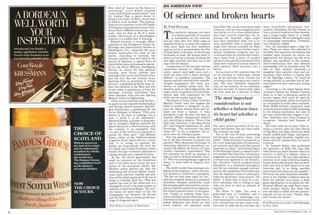 Article Preview: Of science and broken hearts, November 1984 | Maclean's