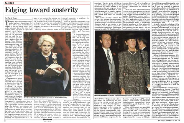Article Preview: Edging toward austerity, November 1984 | Maclean's