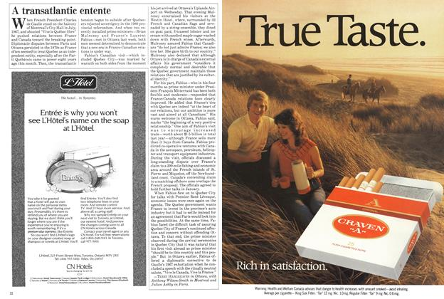 Article Preview: A transatlantic entente, November 1984 | Maclean's