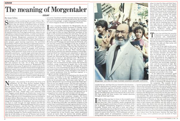 Article Preview: The meaning of Morgentaler, November 1984 | Maclean's