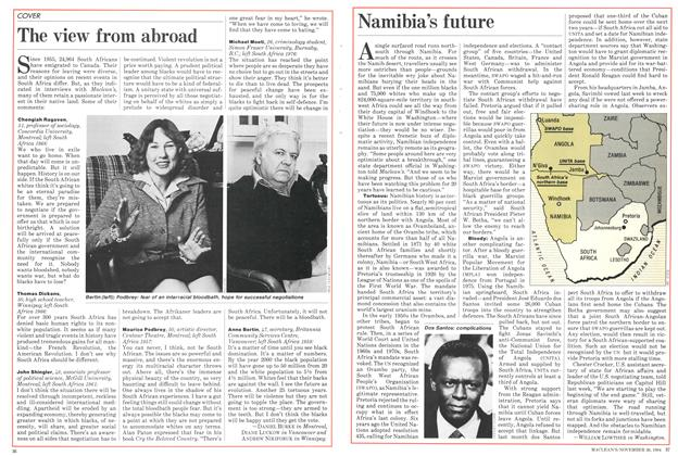 Article Preview: Namibia's future, November 1984 | Maclean's