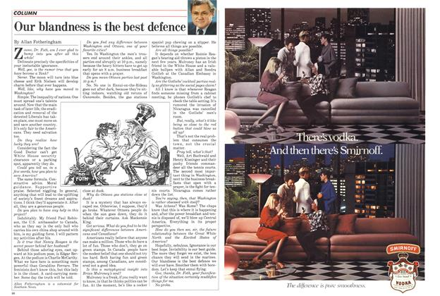 Article Preview: Our blandness is the best defence, November 1984 | Maclean's