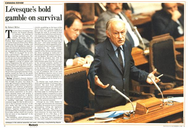 Article Preview: Lévesque's bold gamble on survival, December 1984 | Maclean's