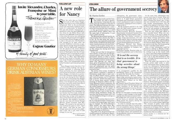 Article Preview: The allure of government secrecy, December 1984 | Maclean's