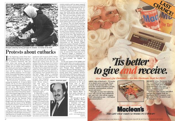 Article Preview: Protests about cutbacks, December 1984 | Maclean's