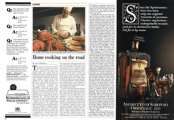 Article Preview: Home cooking on the road, December 1984 | Maclean's