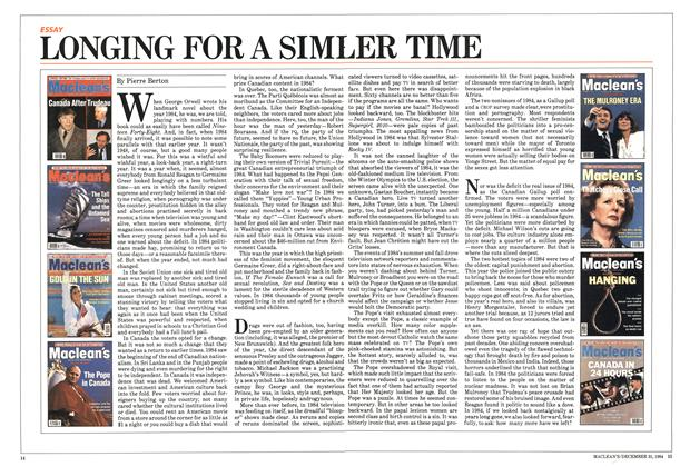 Article Preview: LONGING FOR A SIMILER TIME, December 1984 | Maclean's