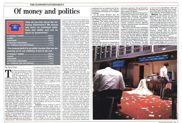 Article Preview: Of money and politics, January 1985 | Maclean's