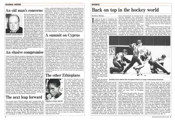 Article Preview: Back on top in the hockey world, January 1985 | Maclean's
