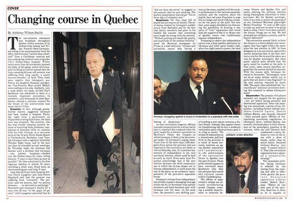 Article Preview: Changing course in Quebec, January 1985 | Maclean's