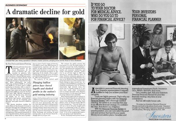 Article Preview: A dramatic decline for gold, January 1985   Maclean's