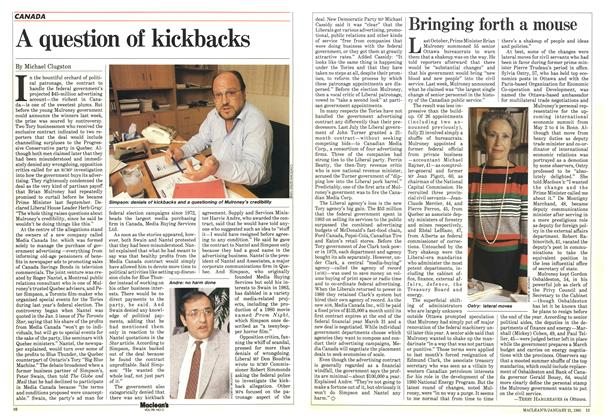 Article Preview: A question of kickbacks, January 1985 | Maclean's