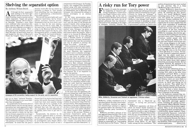 Article Preview: Shelving the separatist option, January 1985 | Maclean's