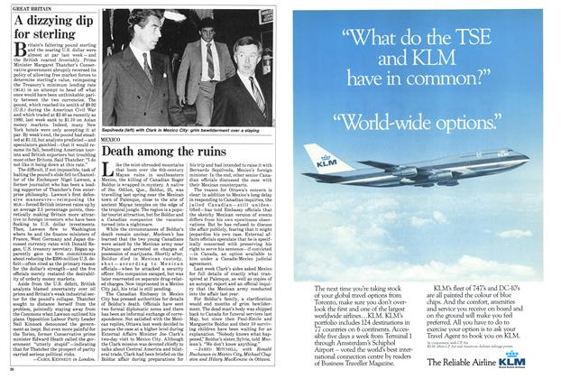 Article Preview: A dizzying dip for sterling, January 1985 | Maclean's