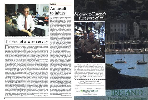 Article Preview: An insult to injury, January 1985 | Maclean's