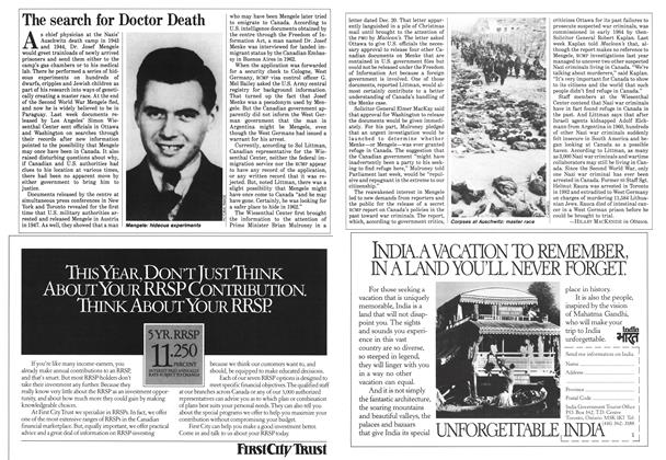 Article Preview: The search for Doctor Death, February 1985 | Maclean's