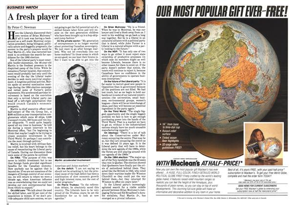Article Preview: A fresh player for a tired team, February 1985 | Maclean's