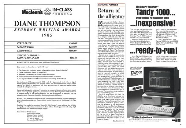 Article Preview: Return of the alligator, February 1985 | Maclean's