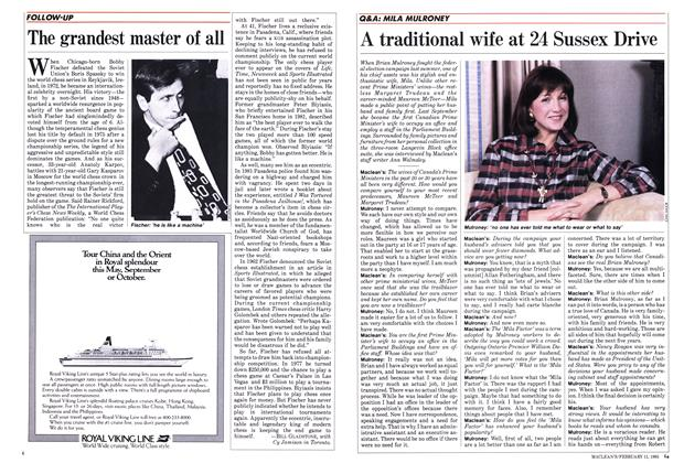 Article Preview: A traditional wife at 24 Sussex Drive, FEBRUARY 11,1985 1985 | Maclean's