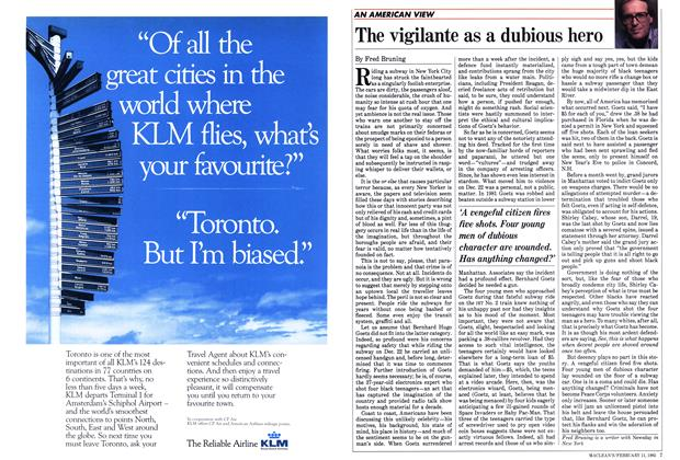 Article Preview: The vigilante as a dubious hero, FEBRUARY 11,1985 1985 | Maclean's