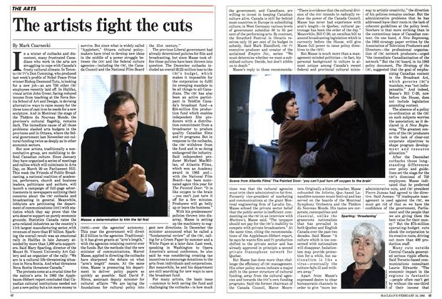 Article Preview: The artists fight the cuts, February 1985 | Maclean's