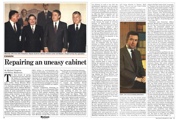 Article Preview: Repairing an uneasy cabinet, March 1985 | Maclean's