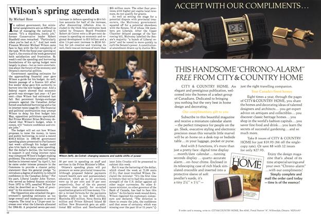 Article Preview: Wilson's spring agenda, March 1985   Maclean's