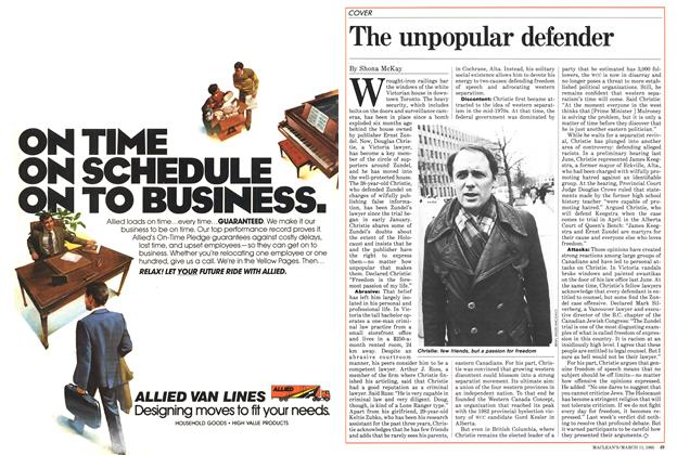 Article Preview: The unpopular defender, March 1985 | Maclean's