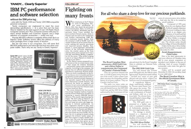 Article Preview: Fighting on many fronts, March 1985 | Maclean's