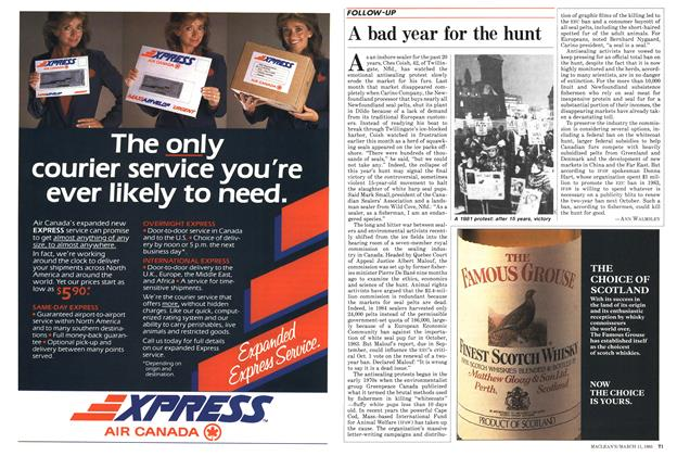 Article Preview: A bad year for the hunt, March 1985   Maclean's