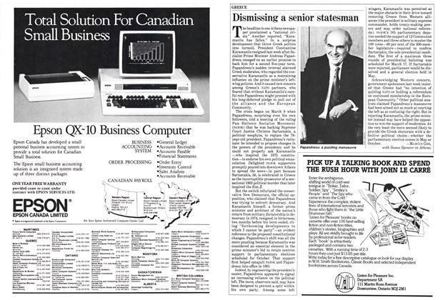 Article Preview: Dismissing a senior statesman, March 1985 | Maclean's