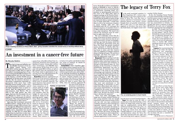 Article Preview: An investment in a cancer-free future, April 1985 | Maclean's