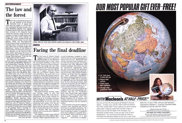 Article Preview: Facing the final deadline, April 1985 | Maclean's