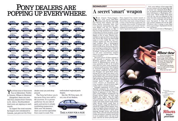 Article Preview: A secret 'smart' weapon, April 1985   Maclean's