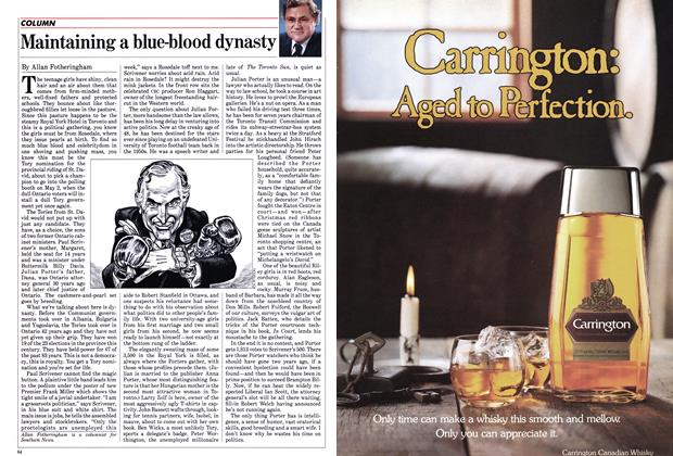 Article Preview: Maintaining a blue-blood dynasty, April 1985 | Maclean's