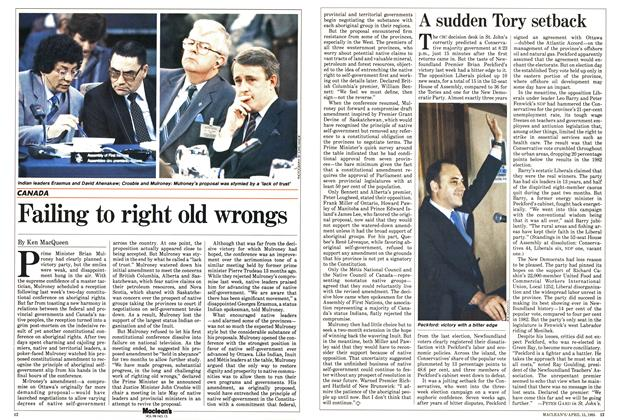 Article Preview: Failing to right old wrongs, April 1985 | Maclean's
